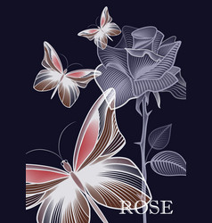 outline a contour gentle rose with a butterfly vector image
