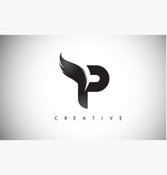 P letter wings logo design with black bird fly vector