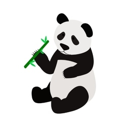 Panda bear eating bamboo shoot icon vector