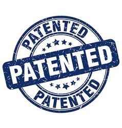 Patented blue grunge round vintage rubber stamp vector