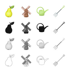 Pear windmill on the farm watering can for vector