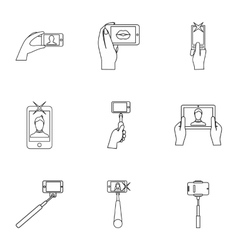 Photography on smartphone icons set outline style vector image