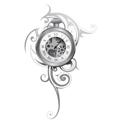 pocket watch tattoo vector image