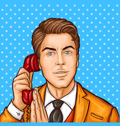 Pop art businessman talking on a retro phone and vector