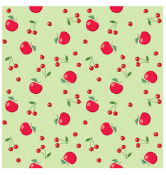 red apples and cherries on light green background vector image