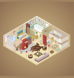 Rural house interior design isometric vector