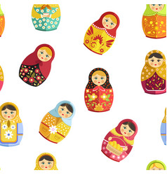 russian doll traditional wooden souvenir from vector image