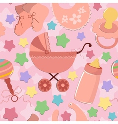 Seamless background with babys objects vector image