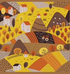 Seamless pattern autumn village landscape vector