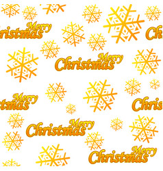 seamless pattern merry christmas golden logo vector image