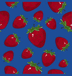Seamless pattern strawberry on blue background vector