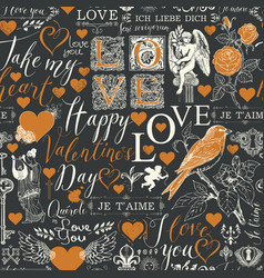 Seamless pattern with love theme sketches vector