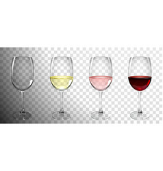 Set glasses with wine vector
