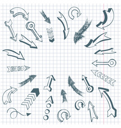 set hand drawn arrows vector image