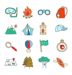 Set of ecotourism icons elements isolated vector image