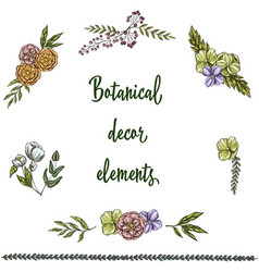 Set of hand drawn vintage decor elements isolated vector