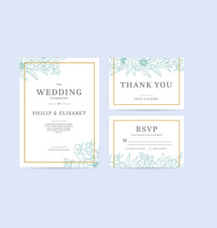 set of vintage wedding invitation template with vector image