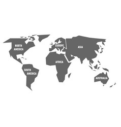 simplified grey silhouette of world map divided to vector image