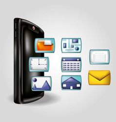 Smartphone with social media icons vector