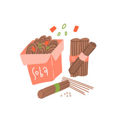 soba set raw and boiled buckwheat soba noodles in vector image