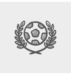 Sports soccer logo badges sketch icon vector image