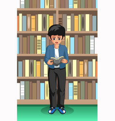 Student boy reading in the library vector