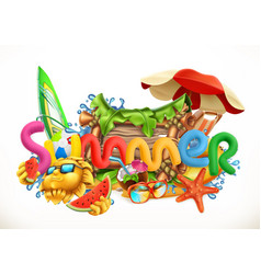 Summer beach summer holiday set 3d icon vector