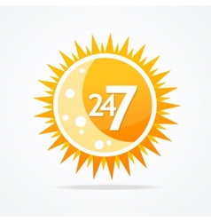 Sun icon 24 hours and 7 days open sign vector image