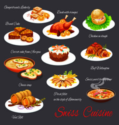 swiss cuisine food dishes and meals menu vector image