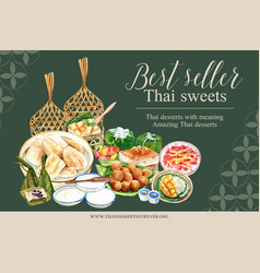 Thai sweet frame design with imitation fruits vector