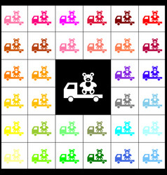 truck with bear felt-pen 33 colorful vector image