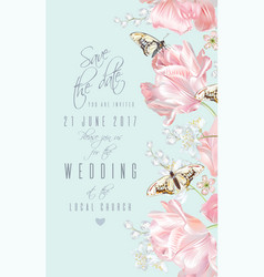 Tulip butterfly save the date vector