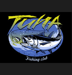 Vintage t-shirt design tuna fishing with vector
