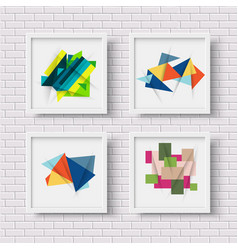 White picture frames with colorful geometric vector