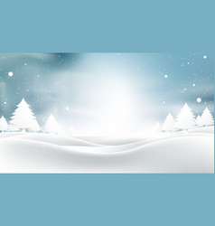 Winter landscape with falling christmas snowflakes vector