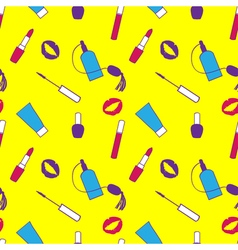 Yellow purple and pink makeup seamless pattern for vector image