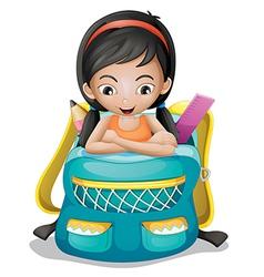 A girl inside a school bag vector image vector image