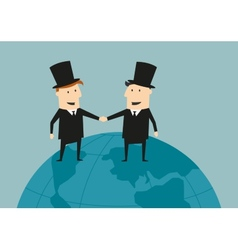 Businessman and industrialist shaking hands vector image