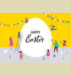 Happy easter banner with families and kids vector