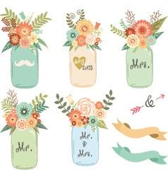 Mason Jar Wedding flower Collections vector image vector image