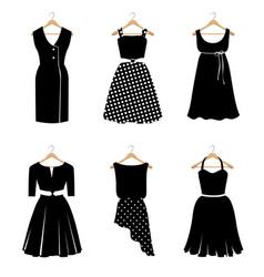 six elegant black dresses vector image