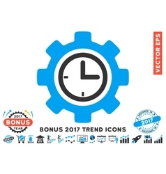 Time Setup Gear Flat Icon With 2017 Bonus Trend vector image vector image