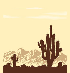 sunset in desert with cactuses vector image