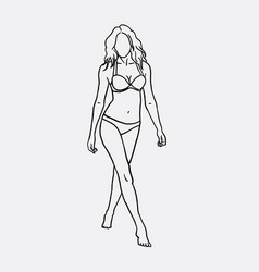 woman in bikini sketch vector image
