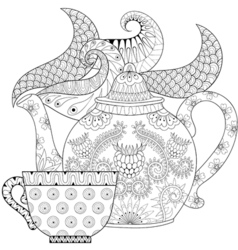 Zentangle stylized ornamental teapot with steam vector image