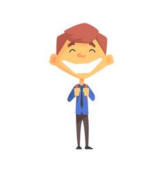 ecstatic boy with a tie primary school kid vector image vector image