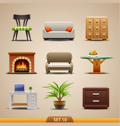 furniture icons-set 10 vector image