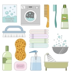 Items in the bathroom Set of flat icons vector image