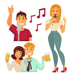 people entertaining in karaoke bar isolated on vector image