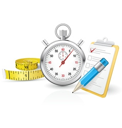 Stopwatch with clipboard and tape measure vector image